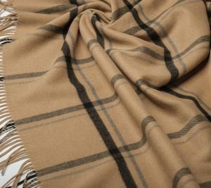 Wełna płaszczowa w kratę - kupon 150 cm