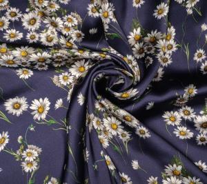 Jedwab satynowy kwiatki stokrotki