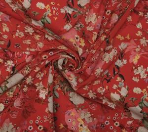 Wiskoza w kwiaty czerwona