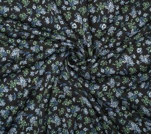 Wiskoza błękitne kwiatki - resztka 84 cm x 147 cm