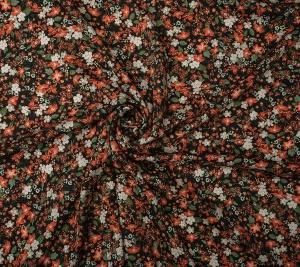 Wiskoza drobne kwiatki - czarne tło - resztka 97 cm x 145 cm