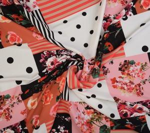 Jedwab w stylu D&G patchwork groszki i róże