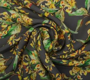Satyna jedwabna w kwiaty - matowy jedwab