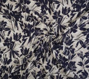 Len granatowe kwiaty i liście - sygnowany Cancilini